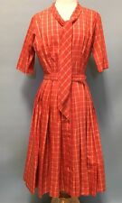 Vintage Women's Orange Plaid 1950's Retro Belted Dress Sz S