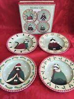 "Oneida Fiddlestix Holiday Cats Salad Dessert Plates 8 1/4"" - SET OF 4 IN BOX"