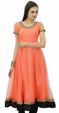Bimba Women Flaired Net Anarkali Dress Solid Peach Kurta Kurti Indian Party Wear