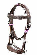 BROWN leather sidepull bitless bridle hand carving on brow & noseband Full.