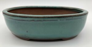 Green Glazed Oval Bonsai Pot 16x12.5x5cm