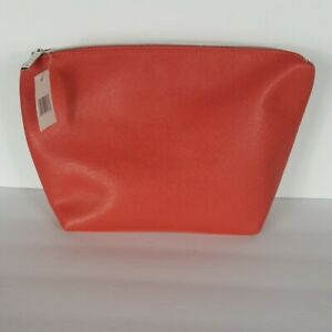 Vtg 90s Nordstrom Make Up Cosmetics Bag Coral Pink Zipper Travel Clutch