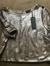 SEQUIN TOP MINT VELVET SHORT SLEEVE NEW WITH TAGS