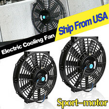 2x 10in Electric Radiator Cooling Slim Fan Universal Push Pull Mounting 1750CFM