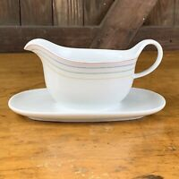 Arzberg Rainbow Stripe White Gravy Sauce Boat Attached Plate Made in Germany