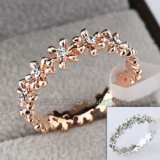 A1-R3028 Fashion Ring Flower 18KGP CZ Rhinestone Crystal Size 5.5-9