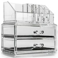 Cosmetic Organiser 2 Drawers Clear Acrylic Jewellery Box Makeup Storage Case New