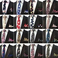 Men's Cotton Floral Necktie Pocket Square Men Tie Handkerchief Set High Quality