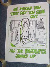Vintage 1970 No Absence Poster hospital nurse nursing medical dr