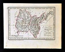 1841 Perrot France Map Departement de L' Ain Bourg Nantua Geneve Gex Belley Lyon
