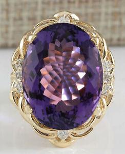 14.55 Carat Natural Amethyst 14K Solid Yellow Gold Luxury Diamond Ring