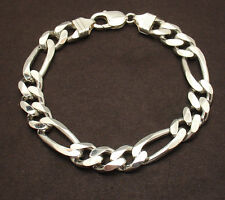 "9"" Mens Italian Bold Solid Figaro Link Chain Bracelet Real 925 Sterling Silver"