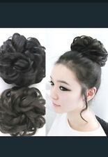 Synthetic twirl Clip In curly Hair Bun Ponytail Hair Piece Extensions black