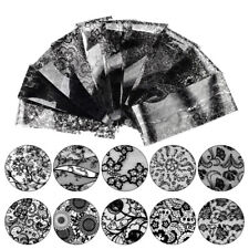 10 Sheet Black Lace Nail Art Foil Set Flower Floral Charm Nail Transfer Sticker