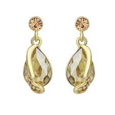 Women Geometric Crystal Tear Drop Long Festive Topaz Earrings Charm Romantic