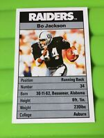 Ace NFL FACT Pack - Los Angeles Raiders - 1987 LA - Bo Jackson Card - MINT