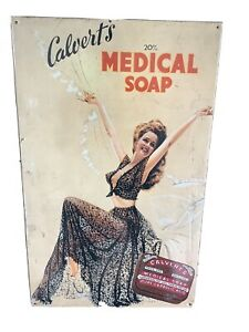 VINTAGE Retro CALVERTS MEDICAL SOAP Advertising Metal Display Collectible 2ft