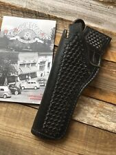 "Vintage Tex Shoemaker Black Basketweave Leather Jordan Holster for 6"" L  K Frame"