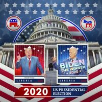 Liberia Joe Biden Stamps 2020 MNH Donald Trump US Presidential Election 2v S/S