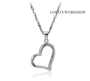 QUALITY WHITE GOLD PLATED CLASSIC HEART PENDANT NECKLACE 925 SILVER CHAIN GIFT