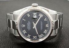ROLEX Datejust 116234 18K White Gold Bezel Black Dial Watch *MINT CONDITION*