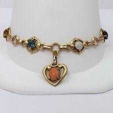 """Vintage Retro 12K Gold Filled Gemstone Heart Charm Bracelet Sz 7"""" 9.3gr"""