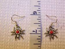 Red plastic beaded spider on silver plated ear wires