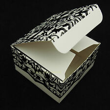 25 x Black Damask Pattern Favour Boxes | Party Wrapping Wedding Bonbonniere