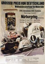 """GROSSER PREIS NÜRBURGRING 1965"" Affiche originale entoilée VAN HUSEN 64x88cm"