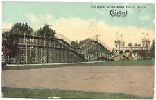 Postcard ~ Derby Racer  Roller Coaster at Euclid Beach Park  Cleveland  1914