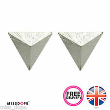 NEW SILVER TRIANGLE GEOMETRIC EARRINGS STUD PLATED JEWELRY WOMENS LADIES BOHO UK