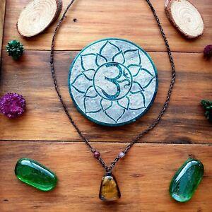 Midnight Tigers Eye Crystal Pendant Necklace Choker Hemp by GypsyLee Jewels