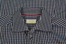 ETON Contemporary Navy & Obsidian Gingham Plaid Cotton Dress Shirt Sz 16
