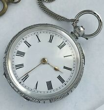 Swiss made James Scott unisex pure silver pocket antique watch great condition.