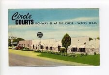 Waco TX Texas 1956 Circle Courts, Steve's Cafe, old cars, hwy 81, linen postcard