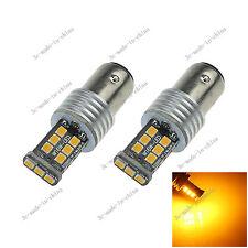 2X Yellow 1157 BAY15D 15 SMD 2835 LED Car Light Canbus Error Free Non-polar E069