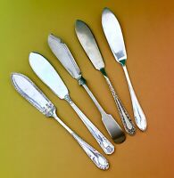 VINTAGE BUTTER KNIVES x5 POTOSI POTTER GADROON ROYALTY EPNS SILVER PLATE CUTLERY