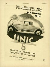 """AUTOMOBILE UNIC 8"" Annonce originale entoilée ILLUSTRATION 3/1/31 N. RESCHOFSKY"