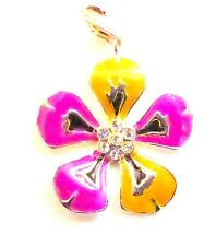 Crystal  centerFlower Charm Clip-on charms for European Bracelet / Charm Carrier