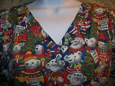 LANDAU scrubs top dental medical nurse vet CHRISTmas tree musical teddy bears XS