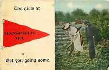 The Girls At: Mansfield Missouri~Couple in a Field~1910 Red Pennant Postcard
