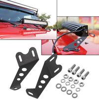 For 07-17 Jeep Wrangler JK Pair Hood Mounting Brackets Fit 22inch LED Light Bar