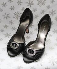 Aldo Black Peeptoe Heels Bling Diamante Leather Party Evening Prom EU 37 UK 4