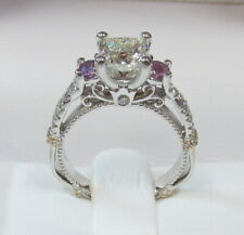 Verragio Diamond Pink Sapphire 14K White Gold Engagement/Wedding Ring