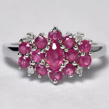 Womens Natural Ruby Diamond Cluster Flower Ring Solid 10K White Gold 1.54 Carat