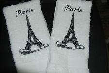 Embroidered Eiffel Tower Toile Bathroom Hand Towel White set of 2