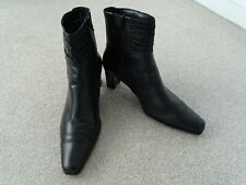 Boxed Ladies Gabor Black Leather Ankle Boots Size 8