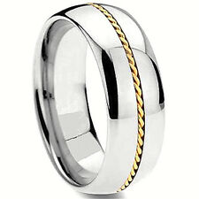 TITANIUM Highly Polished RING BAND with Braided Accent, size 9