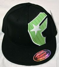 Famous Stars and Straps Classic Badge FlexFit Hat Black Cap with Green Logo-New