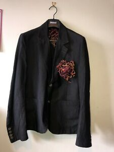 """Mens 42"""" Chest Neill Katter Jacket Designer Suit Jacket Made In Italy Lit Fire"""